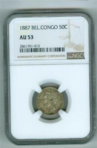 BELGIAN CONGO 1887 50 CENTIMES SILVER NGC AU-53