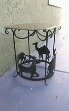 Vintage Cast Iron Ornate Glass Top End Table with Carved Jungle Animals