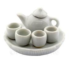 fait main maison de Poupées Miniature brillant blanc vitré céramique thé