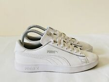 Puma Smash V2 L Leather Women's Unisex Trainers White UK Size 5 EUR 38
