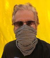 Houndstooth Black& White Multi-use Tube Scarf Bandana Head Face Mask Neck Gaiter