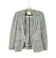 REBECCA TAYLOR womens size 2 tweed striped cotton open front career blazer