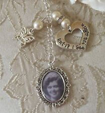 Ivory Butterfly Memorial Bouquet Photo Charm Made With Swarovski Beads