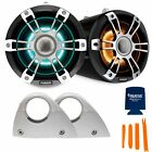 Fusion SG-FLT652SPC 6.5'' Sports Grey Chrome Tower Speakers, RGBW LED with