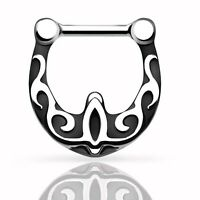 316L Surgical Steel Nose Ring Piercing Black Vines Desgin Nose Septum Clicker