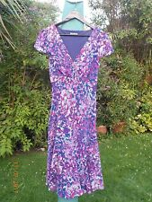 PER UNA SIZE 14R PURPLE, PINK, WHITE, BLUE & GREY SPOTS / DOTS DRESS-FULLY LINED