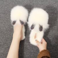 Womens Slippers Rabbit Fur Casual House Shoes Warm Soft Slides Fashion Cute New