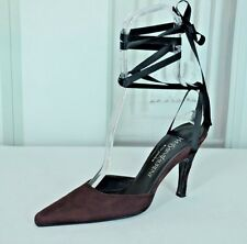 Yves Saint Laurent Rive Gauche Women's Merlot Suede Pumps Heels Size 37.5