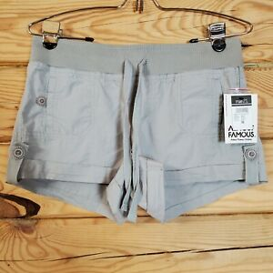 Almost Famous Juniors Womens Size M Gray Cuffed Elastic Drawstring Waist Shorts