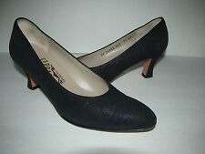 Salvatore Ferragamo Size 7.5N Navy Blue Textured Suede Pump Heels Shoes
