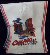 Pair 100% Cotton Retro 1950s CHICAGO Flour Sack Style Kitchen Towels