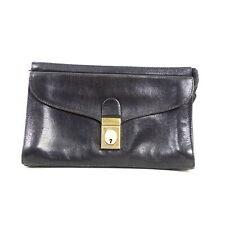 Vintage Clutch Tasche Klein Bag Handtasche Leder Impressionen Schwarz Gold