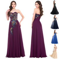 GK Womens Sleeveless Strapless PEACOCK Chiffon Prom Maxi Bridesmaid Gown Dresses