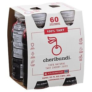 Cheribundi Natural Tart Cherry Juice 8 oz Bottles (Pack Of 4)