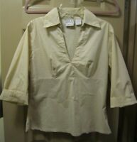 SZ M QUIZZ STRETCH WOMENS BEIGH V-NECK COLLAR 3/4 SLEEVE STRETCHY TOP BLOUSE GUC