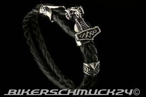 Thors Hammer Armband echt Leder geflochten Widderkopf aus Edelstahl Wikinger NEU