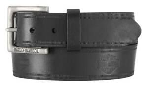 Harley-Davidson Men's Low Ride B&S Genuine Leather Belt - Antique Nickel Buckle