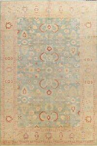 Vintage Geometric Oushak Turkish Oriental Area Rug Green Wool Hand-knotted 10x14