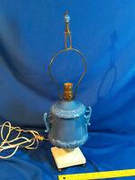 Antique Porcelain Urn Lamp Pottery Blue White Finial Victorian-Art Deco VTG