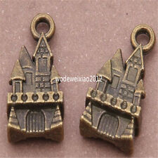 10pc Antique Bronze castle Pendant Charms Beads Accessories wholesale PL316