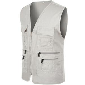 Men's Fishing Travelling Working Coat Multi-Pocket Utility Zip Vest Waistcoats