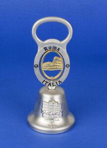 Cloche clochette de table souvenir en métal argenté Roma Italia déco