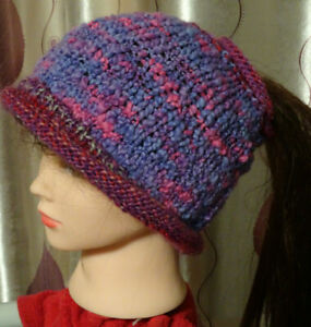 Hand Knitted Beanie Warm Women's Hat with hole for pony tail Australia Made
