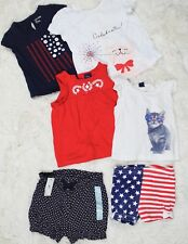 American Flag Outfit Lot T-Shirts + Shorts Girls 6-24M Baby Gap 4th July Cat