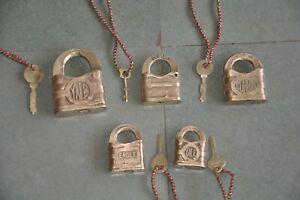 5 Pc Old Handcrafted Brass Yale & Towne Solid Padlocks, USA