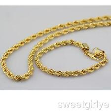Mens 24k Yellow Gold Filled Necklace Bracelet Set 6mm Twisted Rope Chain