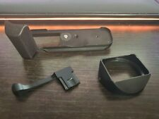 Fuji x100t arcade Swiss grip and hogue square hood in black, hot shoe thumb grip