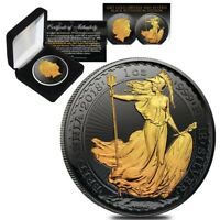 2018 Great Britain 1 oz Silver Britannia Coin Black Ruthenium 24K Gold Edition