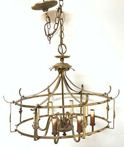 Vintage Brass French Lantern Chandelier 8 Lights Gorgeous Antique Cage Designer