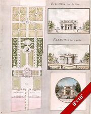 FRENCH HOME & GARDEN LAYOUT BLUEPRINT WATERCOLOR PAINTING ART REAL CANVAS PRINT
