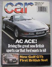 CAR 03/1992 featuring AC  Ace, Mitsubishi 3000GTO, VW Golf GTi, Peugeot 205 GTi