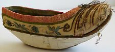 ANTIQUE ASIAN SHOE WITH EMBROIDERED FLOWERS AND A RAISED HEEL/WEDGE -SIGNED