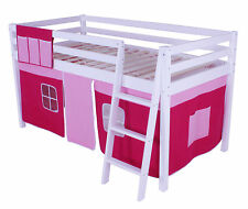 Cabin Loft Bed Mid Sleeper Ladder Bunk Pink Girls New 3ft Single Wooden Pine
