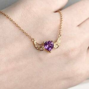 14k Rose Gold Plated Heart Cut Amethyst Flying Angel Wings Pendant Necklace