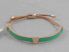 Fossil Brand Rose Gold Stainless Heart Green Enamel Leather Pulley Bracelet $38