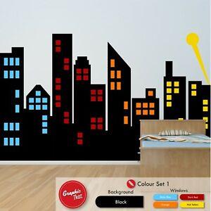 City Skyline Wall Art Sticker Boys Girls Urban Themed Bedroom Large Vinyl Decal