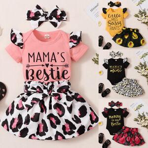 3Pcs Newborn Baby Girls Floral/Leopard Outfits Tops Skirt Headband Clothes Set