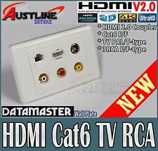 6Port Gold Plated HDMI V2.0 /1.4,3RCA, Cat6 & PAL TV, Datamaster Wall Plate
