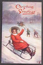 Tuck Oilette Cute Girl Red Coat White Hat Children Sledding Christmas pc 1908