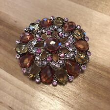 Colored Rhinestone Brooch - Costume Jewelry