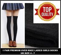 1 PAIR Black Women Girl Ladies Over The Knee Thigh High Socks size 4-7 SLDKDKF