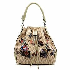 Designer inspired handbag Bee & Butterfly Flower Printed Shoulder Bag with Strap