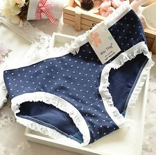 FREE GIFT BAG Ladies Blue Heart Lace Knickers Panties Size 8 - 10 Lingerie Small