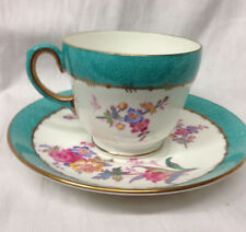 WEDGWOOD ENGLAND W3766 FOOTED CUP & SAUCER 8 OZ FLOWERS TURQUOISE BAND