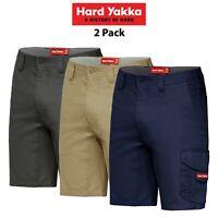Mens Hard Yakka Koolgear Vented Cargo Shorts 2 PACK Tough Tradie Summer Y05140