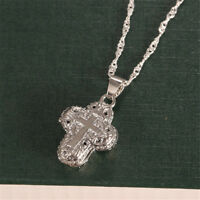 Man Women Locket 925 Silver Magnet Cross Pendant Chain Necklace Chocker Jewelry